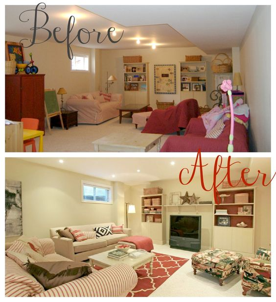 helana and ali: Staging 101 - Where have I been?  Basement Family Room Before and After: