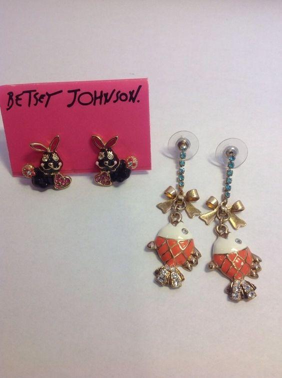Betsy Johnson Earrings, Two Pair, Bunny Rabbits and Goldfish #BetseyJohnson