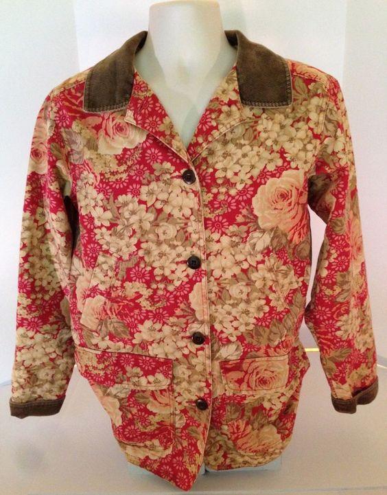 LL Bean Women's Floral Barn Ranch Coat Jacket With Corduroy Trim Size Medium Reg #LLBean #BasicJacket