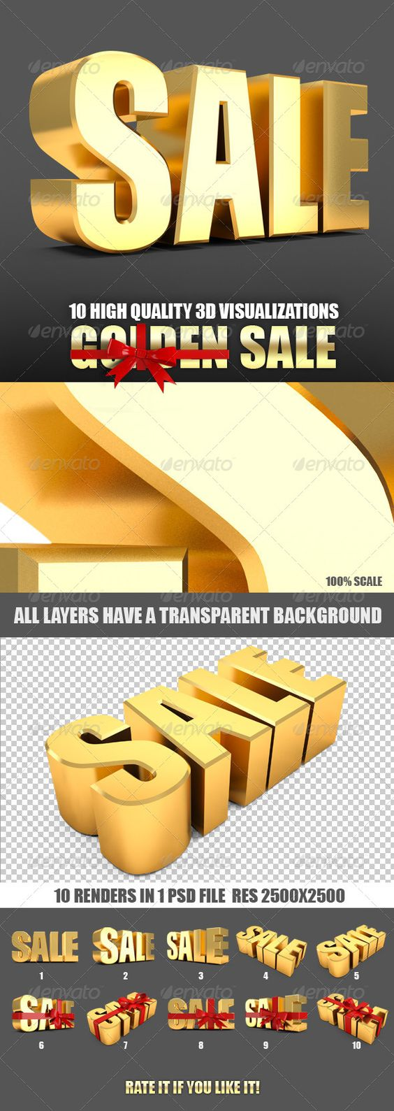 "Sale and sale label tied with red ribbon 3d  #GraphicRiver         Golden Sale and sale label tied with red ribbon 3d.  	 Set includes 1 psd files (sale.psd) 2500?2500 resolution (300dpi 8.3?8.3 inch high quality print) PSD file include 10 separate layers with a transparent background on each layer of visualization labels ""sale"".  	 You can put a objects on any background, to use it in their presentations and design. Change the size, mirror, dream, add others, add your own text to create…"