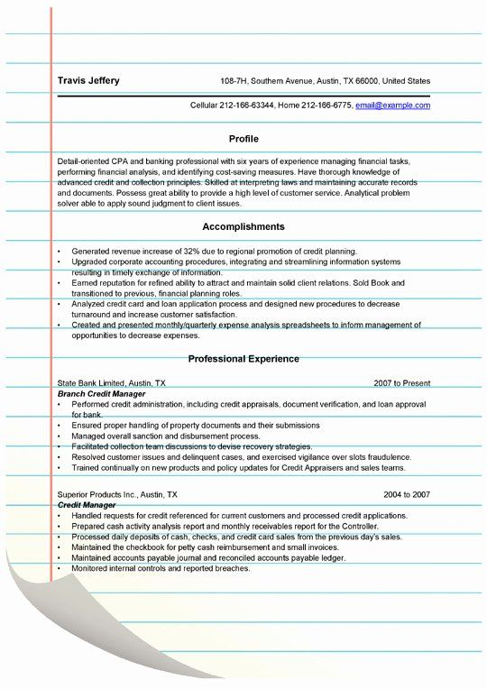 Credit Analyst Resume Example Inspirational Credit Manager Resume Templates Microsoft Word C Financial Analysis Manager Resume Good Credit