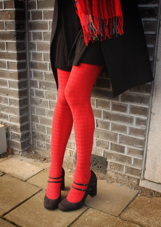 Mary Janes and red, houndstooth tights