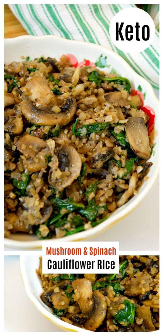 Mushroom Spinach Cauliflower Rice Keto Recipes