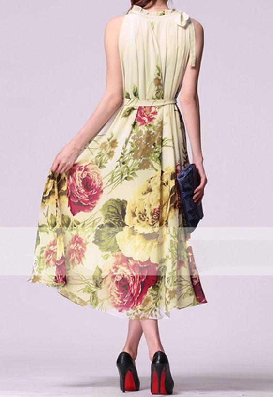 Round Neck Rose Print Long Dress