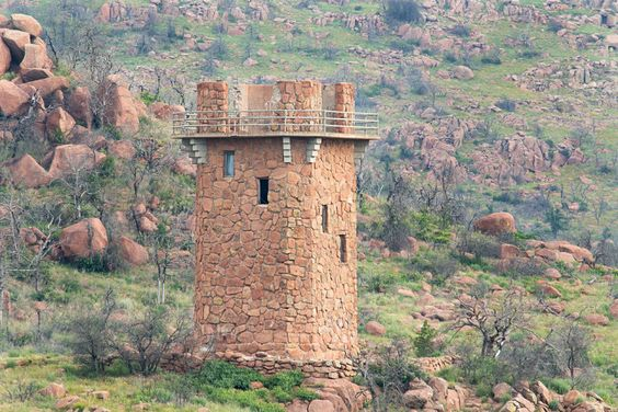 Jed Tower ~ An old tower built in the 1930s stands guard over one end of Jed Johnson Lake in the Wichita Mountain Wildlife Refuge. It is the setting of a real life fairy tale.