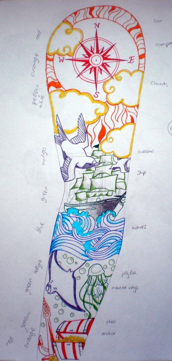 Tattoo design- Sailor sleeve by Anouk-Goodson - just love the transition - can't get a sleeve :(