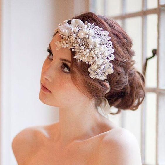 Vintage Milliner's Sparkle Art Deco Headdress Bridal Cap by MillesimeBride, £275.00 - gorgeous champagne lace, pearls and crystals
