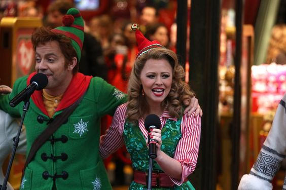 Pin for Later: It's a Christmas Wonderland in London! Hamleys Christmas Window Kimberley Walsh, with the rest of the cast of Elf the Musical, unveiling their Christmas window.