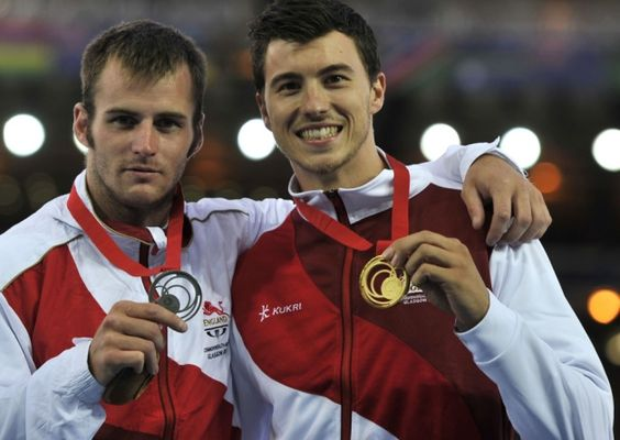 Barnsley's Luke Cutts (left) with his silver medal next to England team-mate and gold medal winner Steve Lewis.