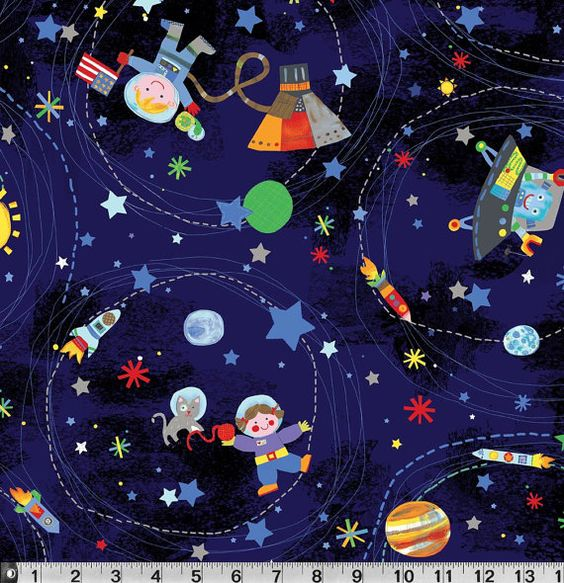 P b textiles jill mcdonald out of this world space toss for Space pattern fabric