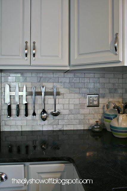 How to hang things on a tiled backsplash at diyshowoff.com