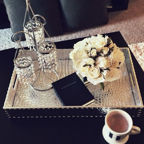 Our everglades rectangular tray really pops on hayleylarue 39 s coffee table z gallerie in your Decorative trays for coffee tables