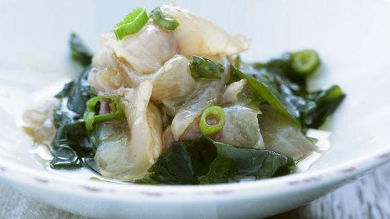 Rezept: Roher Fisch mit Lauchzwiebeln und Algen