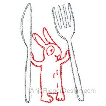 Cutlery with Bunny (Redwork)
