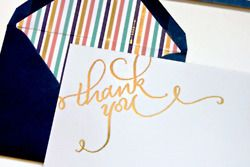 striped & gold thank you notes