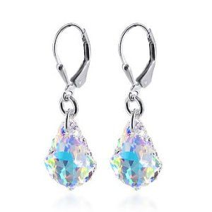 This earring is genuine swarovski. I have purchased what was supposed to be swarovski crystal from another seller and it does not have the true glitter as this one does. This pair picks up the light from all angles, the other one does not.