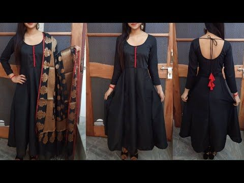 Designer Long Kurti With Neck Frock Anarkali Kurti In Hindi By Easy Stitching Youtube Long Kurti Designs Anarkali Kurti Kurti Designs
