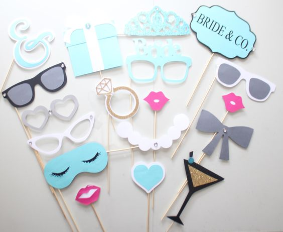 18Pc * Bride and Co Wedding Photo Booth Props/Tiffany Themed Photobooth Props by ThePartyGirlStudio on Etsy https://www.etsy.com/listing/233529696/18pc-bride-and-co-wedding-photo-booth: