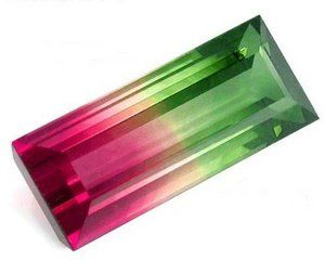 Tourmaline, one of the most beautiful gems to be found, due to the alternating color which can occur in the gem.: