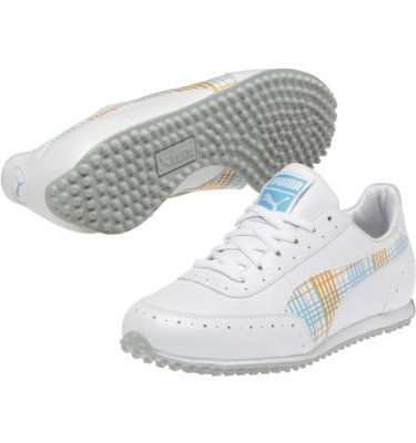 PUMA Golf Cat II Womens Golf Shoe - White/Orange/Blue at Golf Galaxy