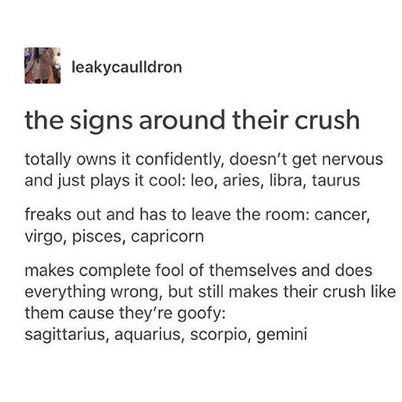 The Signs around their crush @portraitdeyeol ™☽ the first accurate one