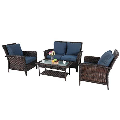 Phi Villa 4 Piece Patio Conversation Set All Weather Wicker Outdoor Furniture Seating Set With 1 Loveseat Patio Furniture Sets Rattan Patio Furniture Furniture 4 piece wicker patio set