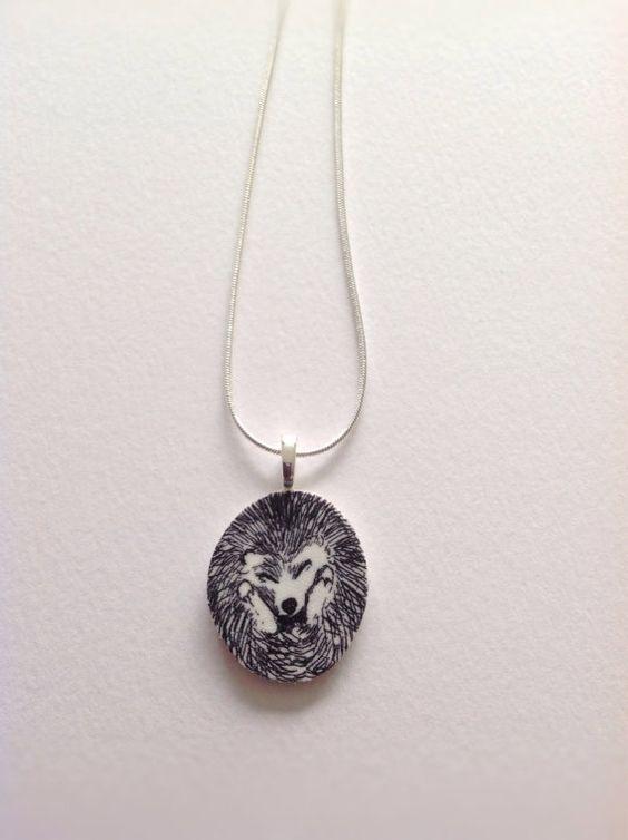 Baby hedgehog pendant necklace-original by Slumbermonkey on Etsy
