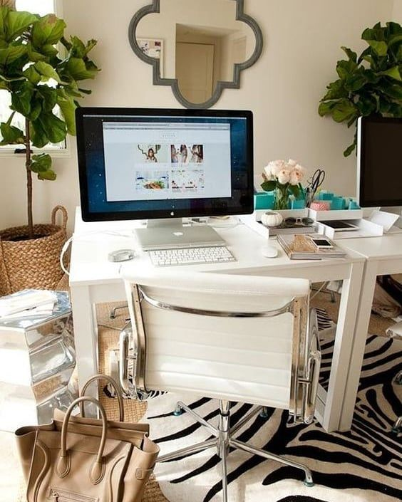 Home Office With Zebra Rug Interiordesign Decor Architecture Interiorstylingtips Livingroom In 2020 Home Office Decor Small Office Furniture Office Chair Design #zebra #rug #in #living #room