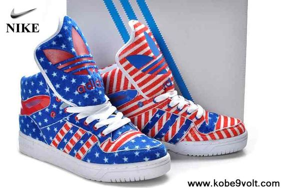 acf4b2ed1840 ... Men Yelred Pinkistaior Jeremy Scott Shoes  sells 5e839 228f8 Sale Cheap  Adidas X Jeremy Scott American Flag Big Tongue Shoes Red Blue ...