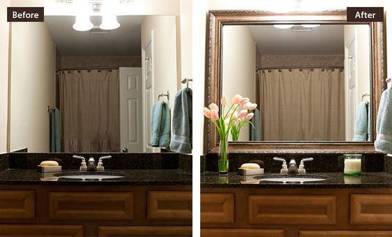 Before and after diy mirror frames bathroom update for Updating bathroom light fixtures