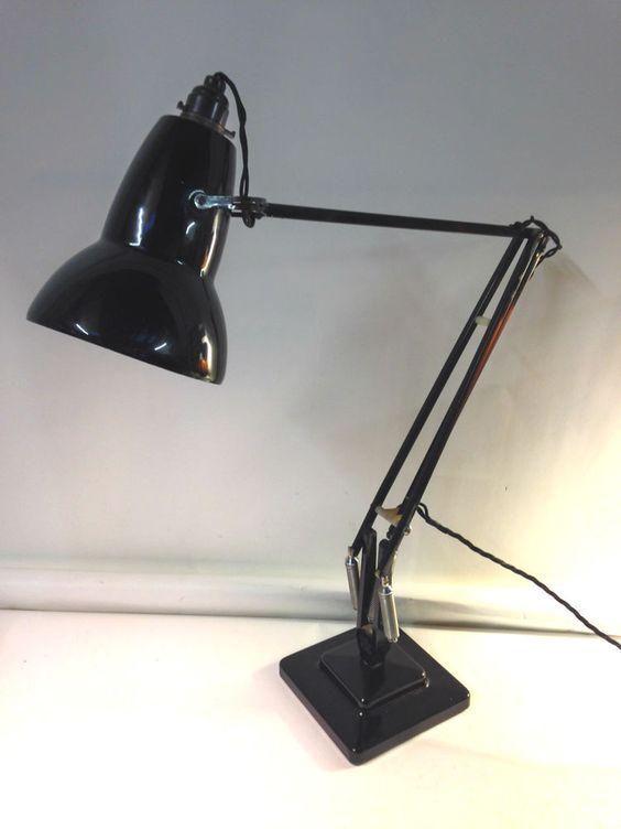 original vintage herbert terry 1227 black anglepoise office desk lamp full working pat lighting