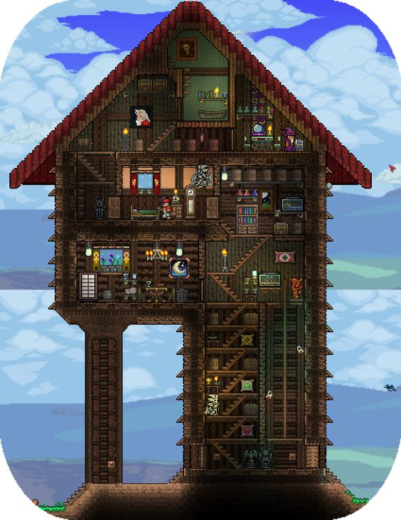 Cool terraria houses google search terraria for Cool ideas for building a house