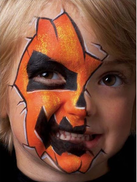 face painting for halloween | Step 5. Add white highlights around the features and cracks using a no ...