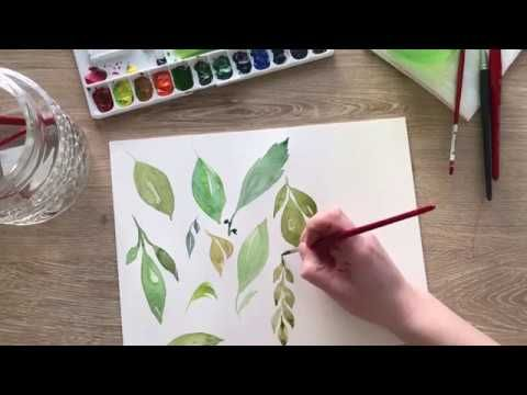 Watercolor Basics How To Paint Simple Leaves Youtube