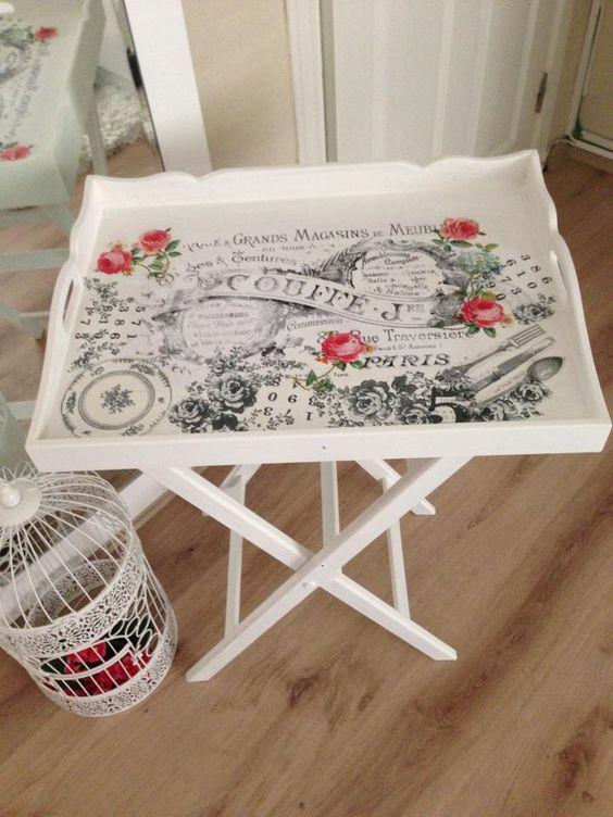 Mesa con patas artesania pinterest bandejas for Decoupage con servilletas en muebles