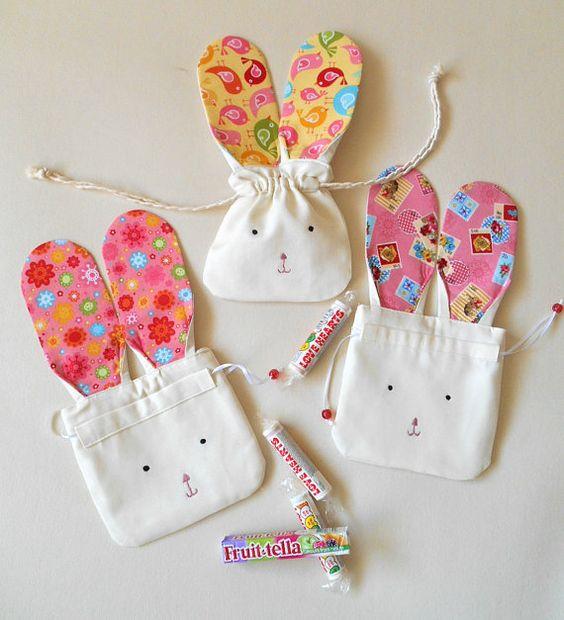 Easter Bunny Gift Bag- Cute Easter Bunny Drawstring Pouch- Bunny Rabbit Mini Bag-Spring Celebration Favour Bag- Bunny Storage: