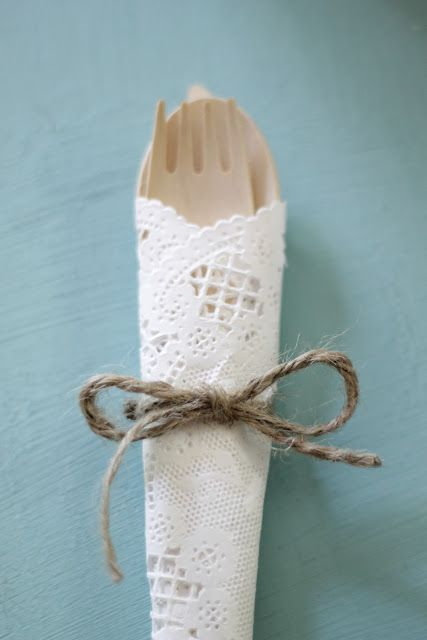 Food: Use paper doily, but with use ribbon instead of twine and silver disposables instead of nude!