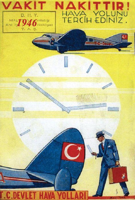 "Vintage Travel Poster "" Turkish Airlines """