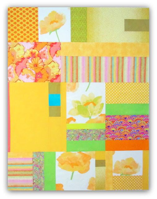"Lily: The Yellow Quilt. A mix of cotton prints and solids, including the big Marimekko floral from my old bedspread! 48x62"", unquilted.:"