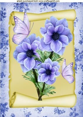 BLUE FLOWERS ON A SCROLL WITH BUTTERFLIES A4 on Craftsuprint - Add To Basket!: