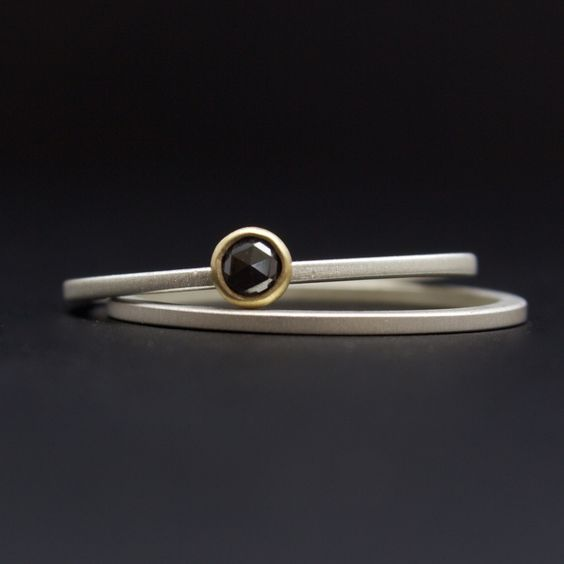 rose cut black diamond ring set