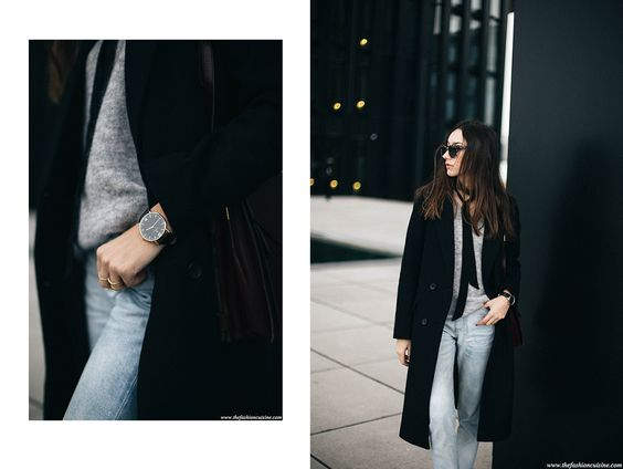 Easy chic outfit for winter featuring a black skinny and bleached mom jeans