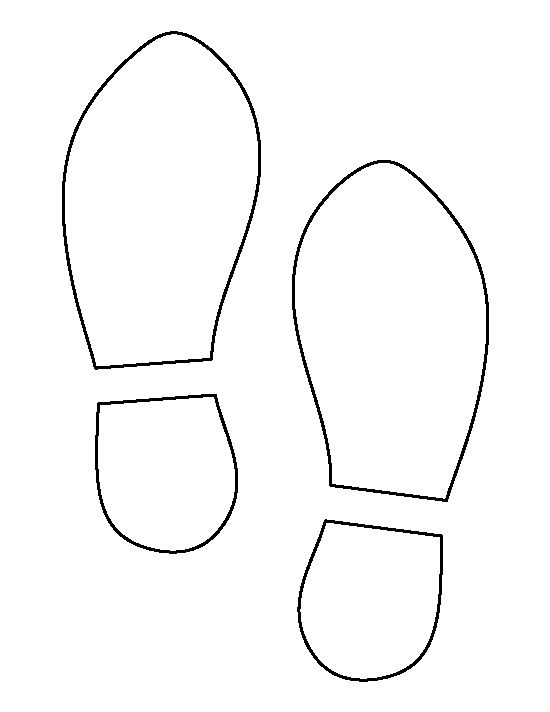 Shoe print pattern use the printable outline for crafts for Footprint cut out template
