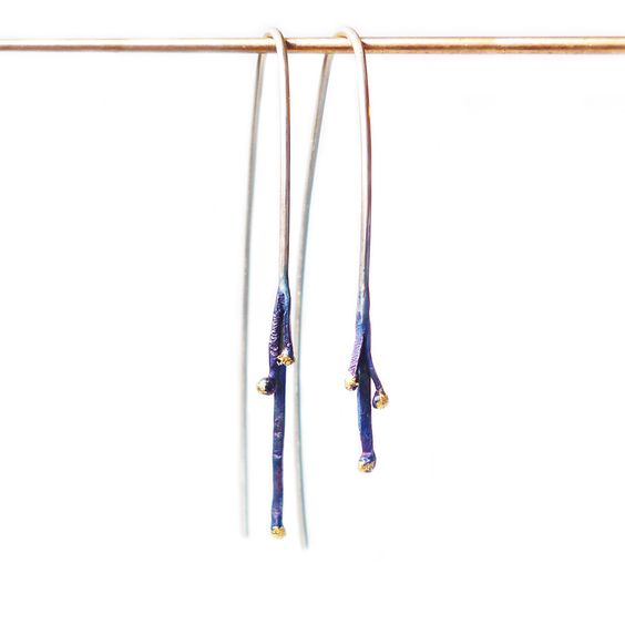 Marion Lebouteiller - Multi-drops earrings Sterling silver.  ​Patinated, 24k gold leaf, lacquered.