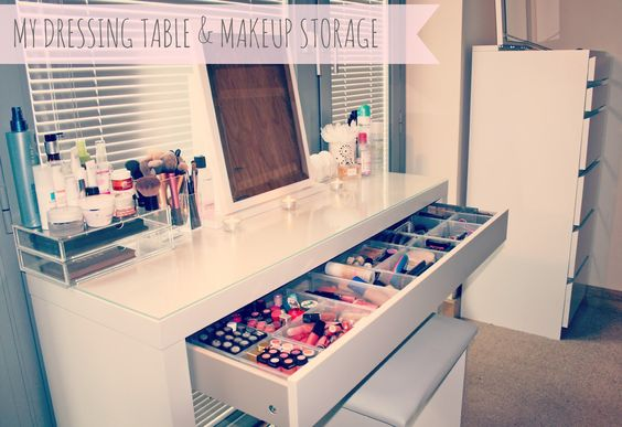 My Makeup Storage // IKEA Malm Dressing   This Is an excellent idea in theory but my shit would end up all over the top of it regardless