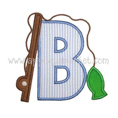 SAMPLE SALE: Appliqued Letter with Fish and Fishing Pole, Free Shipping, Free Personalization by CarmensMonograms on Etsy https://www.etsy.com/listing/228219370/sample-sale-appliqued-letter-with-fish