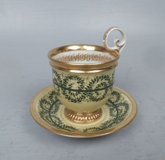 Antique 19c Porcelain Cup & Saucer - Prob. Russian Gardner Moscow Imperial PC