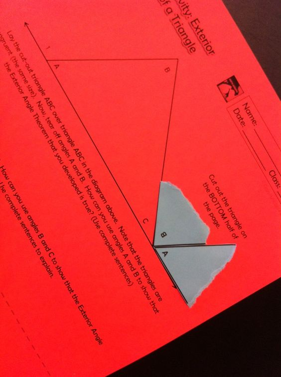 Discovering Exterior Angles And Remote Interior Angles Of A Triangle Geometry Pinterest
