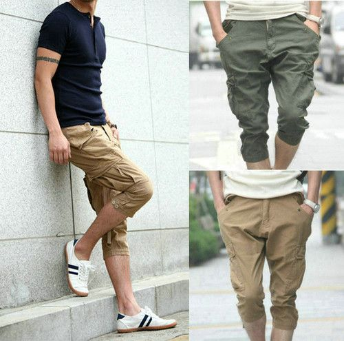 Details about Men's Womens Casual Baggy Harem Cargo Capri Pirate ...