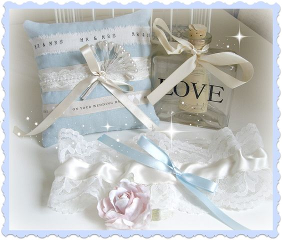 Wedding Ring Pillow & Garter - handmade by Sarah's Simply Handmade